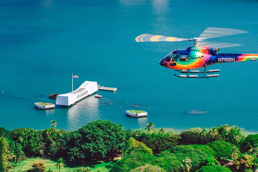 Rainbow Helicopters Above the Arizona Memorial