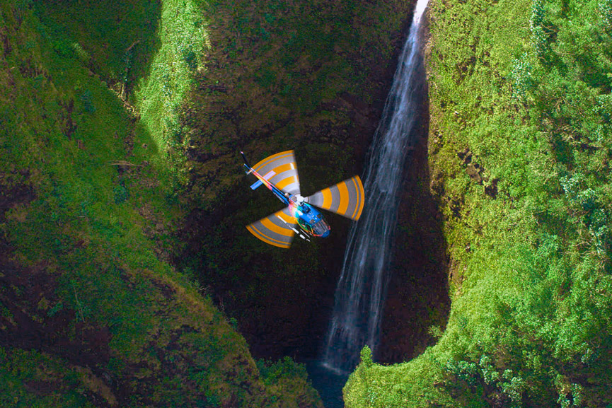 Rainbow Helicopters Above Sacred Falls