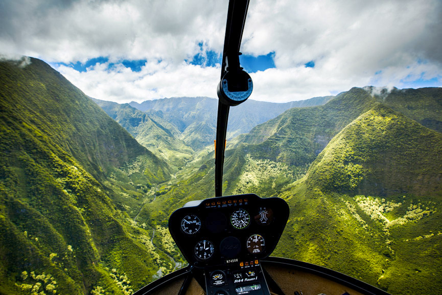 Rainbow Helicopter scenic views from inside a R44