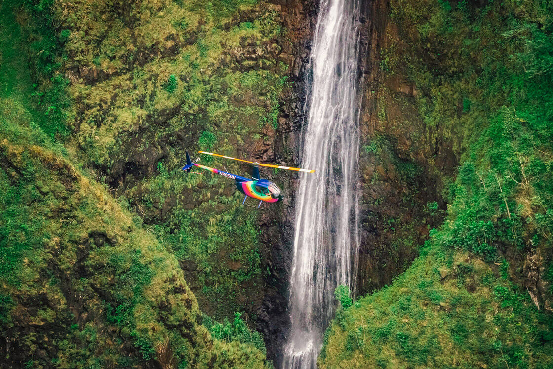 Rainbow Oahu Helicopter Tours - Flying Above The Sacred Falls Waterfall, Oahu