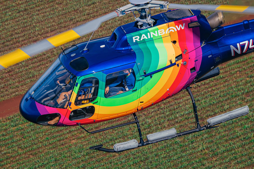 Rainbow Helicopters Astar Over Fields