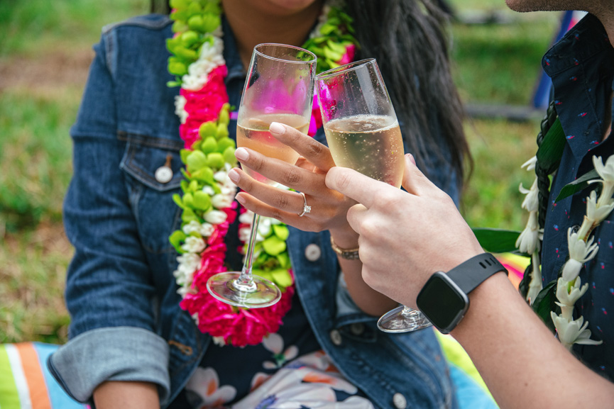 Rainbow Helicopters romantic Oahu proposal flight champagne